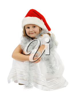 Girl with red hat, isolated on a white background.