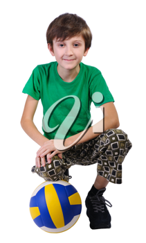 Boy with a soccer ball, isolated on white background.