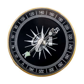 black compass with a metal arrow, isolated