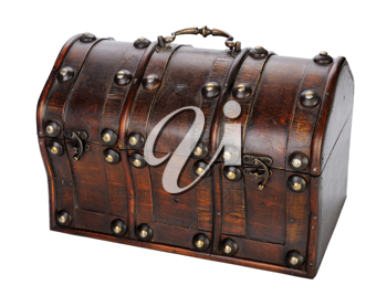 Closed Wooden chest, isolated on a white background.