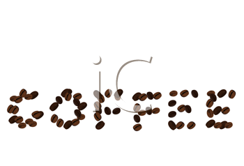 Royalty Free Clipart Image of Coffee Beans Spelling Out Coffee