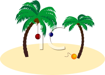 Royalty Free Clipart Image of Decorated Palm Trees