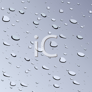 Royalty Free Clipart Image of Water Drops on Glass