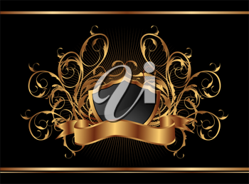 Illustration golden ornate frame for design - vector
