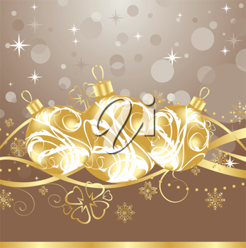 Illustration background with Christmas balls and tinsel - vector