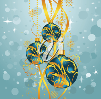 Illustration abstract blue background with Christmas balls - vector