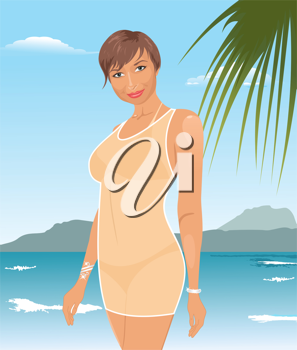 Illustration pretty suntanned girl on beach - vector