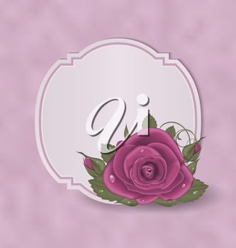 Illustration vintage card with pink roses - vector