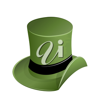 Illustration of green hat in saint Patrick Day - isolated on white - vector