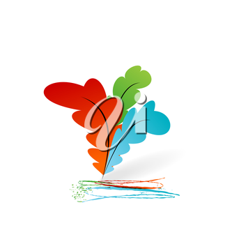 Illustration collection colorful artistic feathers with ink - vector