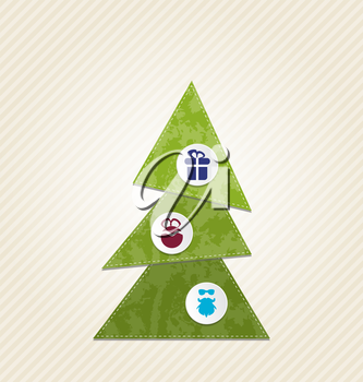 Illustration Christmas tree with infographics, minimal style - vector