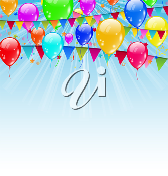 Illustration holiday background with birthday flags and confetti in the blue sky - vector