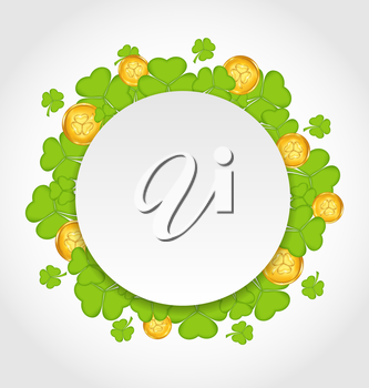 Illustration greeting card with shamrocks and golden coins for St. Patrick's Day - vector