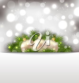 Illustration Merry Christmas postcard with fir branches and golden balls - vector