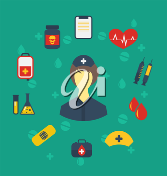 Illustration nurse with medical icons for web design, modern flat style - vector