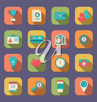 Illustration flat icons of web design objects, business, office and marketing items, modern style with long shadow - vector