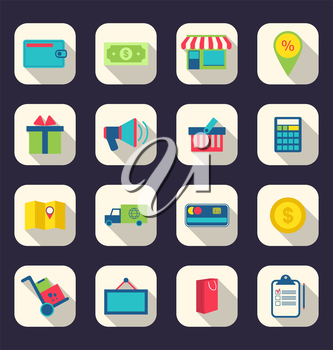 Illustration flat icons of e-commerce shopping symbol, online shop elements and commerce item, long shadow effect - vector