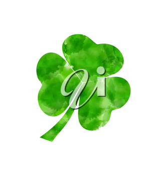 Illustration painted watercolor shamrock isolated on white background for Saint Patrick day - vector