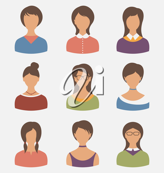 Illustration set female characters isolated on white background - vector