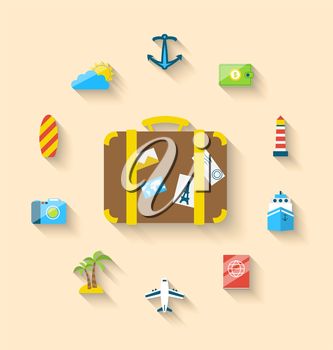 Illustration flat set icons tourism objects and equipment with suitcase, long shadow style - vector