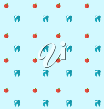 Illustration Seamless Pattern with Tooth and Apples, Health Care Background - Vector