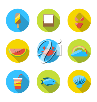 Illustration symbols of planning summer vacation, tourism and journey objects, flat colorful modern icons with long shadows - vector
