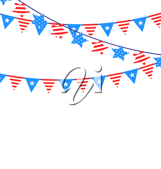 Hanging Bunting Garlands in National American Independent Day - vector