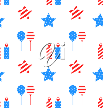 Illustration Seamless Texture with Objects for Independence Day of America, US National Colors - Vector