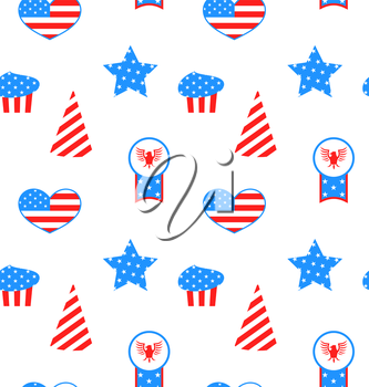 Illustration Seamless Pattern with Traditional Symbolic Objects for Independence Day of America - Vector