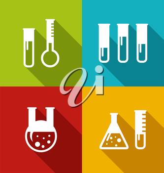 Illustration Chemical Test Tubes, Flasks, Retorts, Beakers, Reactants with Long Shadows, Modern Style - Vector