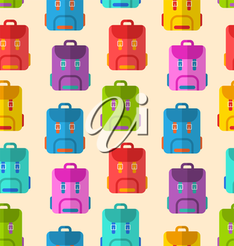 Illustration Seamless Pattern with Colorful School Rucksacks or Touristic Backpacks - Vector