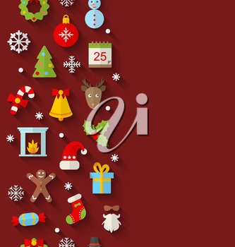 Illustration  Seamless Pattern with Christmas Flat Icons with Long Shadows - Vector