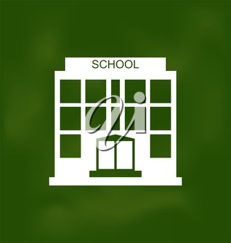 Illustration School Building Painted with Chalk on Blackboard - Vector