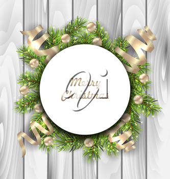 Illustration Merry Christmas Card with Fir Twigs, Balls and Serpentine, Wooden Background - Vector