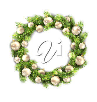 Illustration Christmas Wreath with Balls, New Year and Christmas Decoration, Isolated on White Background - Vector