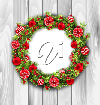 Illustration Christmas Wreath with Balls, New Year and Christmas Decoration, on Wooden  Background - Vector
