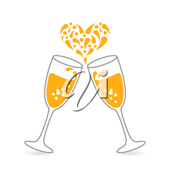 Illustration Wineglasses of Sparkling Champagne and Splashes in Form Heart for Happy Valentines Day. Place for Your Text. Minimal Concept - Vector