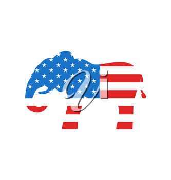 Illustration Elephant as a Symbol of American Republicans, Isolated on White Background - Vector