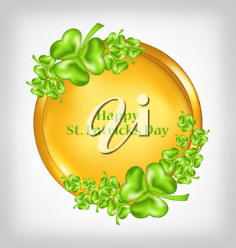 Illustration golden coin with shamrocks. St. Patrick's Day symbol - vector