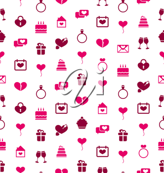 Illustration Seamless Background with Traditional Objects for Valentines Day. Holiday Pattern - Vector
