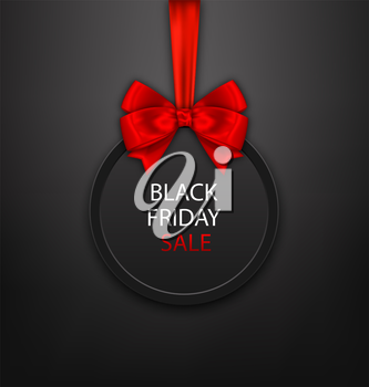 Illustration Black Friday Round Frame with Red Ribbon and Bow - Vector