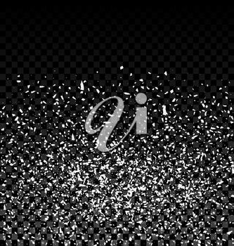 Silver glitter falling confetti. Silver grainy abstract texture on a dark checkered background. Design element - Vector