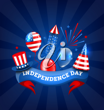 American Banner for Independence Day, Traditional Colorful Symbols and Objects - Illustration Vector
