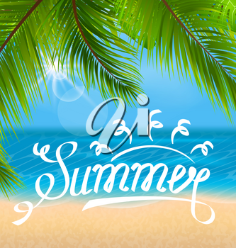 Illustration Exotic Background with Palm Leaves and Beach. Lettering Text. Template of Poster for Summer Holidays - Vector