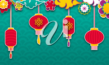 Set Chinese Lanterns for Happy New Year. Lamps and Clouds - Illustration Vector