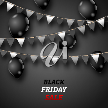 Black Friday Wallpaper with Shiny Balloons and Bunting Pennants - Illustration Vector
