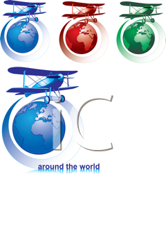 Royalty Free Clipart Image of Biplanes and Globes