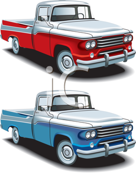 Royalty Free Clipart Image of Two Pickups