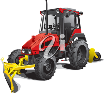 Detailed image of compact snow plow tractor, isolated on white background. File contains gradients. No blends and strokes.