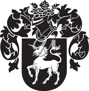 Vector image of black medieval heraldic silhouette, executed in woodcut style, isolated on white background. No blends, gradients and strokes.